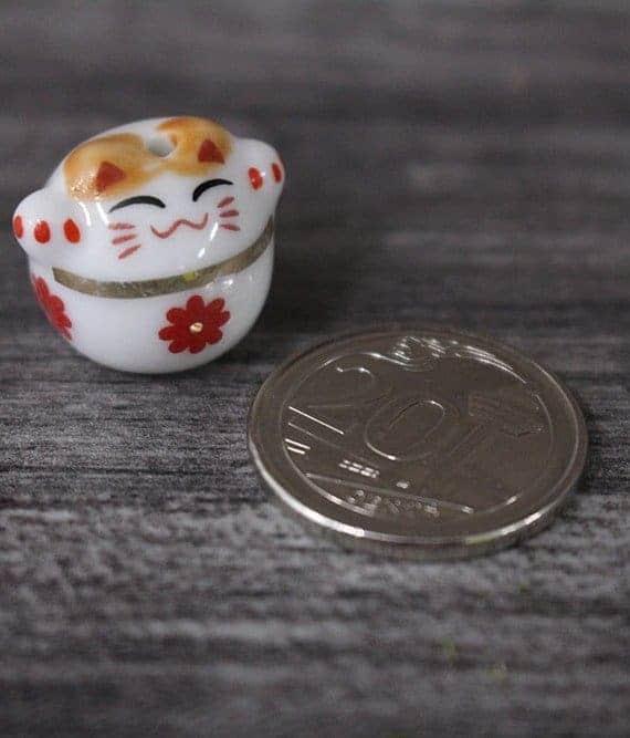 terrarium workshop Mini Fortune Cat Porcelain Figurines - Red Flower October 2021