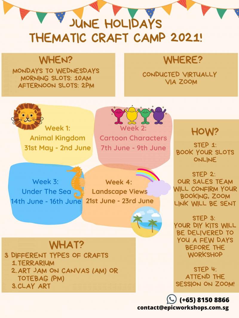 terrarium workshop 3-Day June School Holidays Virtual Craft Camp September 2021